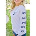 Bow and Letter Print Round Neck Long Sleeve Pullover Sweatshirt