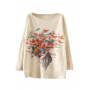 Butterflies Print Scoop Neck Long Sleeve Sweater