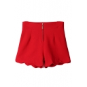 Plain Zipper Fly Wave Hem Shorts