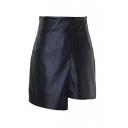 Plain Zip Side Asymmetrical Hem Mini Wrap Skirt