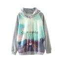 Landscape Print Hooded Long Sleeve Side Pocket Sweatshirt