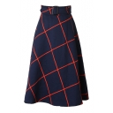 Plaid Belt Waist Zipper Back A-Line Midi Skirt