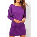 Purple Scoop Neck Long Sleeve Bodycon Dress