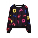 Colorful Letter Print Round Neck Long Sleeve Cropped Sweatshirt