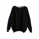 Plain Round Neck Beaded Long Sleeve Sweatshirt