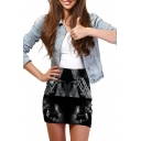 Black Character Print Elastic Waist Mini Wrap Skirt