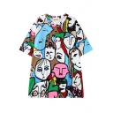 Cartoon Character Print Round Neck Short Sleeve Tunic T-Shirt