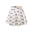 White Hands Print Elastic Waist Mini Flared Skirt