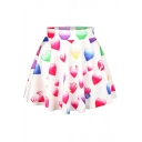 Colorful Hearts Print Elastic Waist Mini Flared Skirt