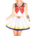 Cosplay Bow Print Tank Skater Dress