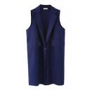 Lapel Plain Sleeveless Single Button Woolen Vest