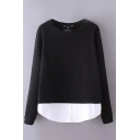 Color Block Layered Round Neck Long Sleeve Sweatshirt