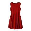 Round Neck Plain Sleeveless Pleated Dress
