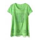 Green Round Neck Lace Crochet Pleated Front Short Sleeve T-Shirt