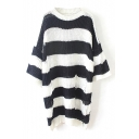 Wide Stripe Round Neck 3/4 Length Sleeve Ripped Sweater