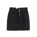 Plain Button Fly Denim Mini A-Line Skirt