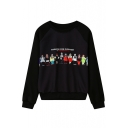 Cartoon Character Print Round Neck Long Sleeve Sweatshirt