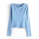 Plain Round Neck Long Sleeve Knit Sweater