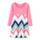 Wave Pattern Color Block Round Neck 3/4 Length Sleeve Smock Dress