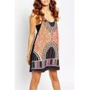 Tribal Print Spaghetti Strap Slip Dress