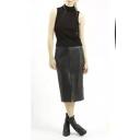 PU Black Zip Back Split Front Midi Pencil Skirt