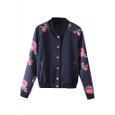 Romantic Rose Print Stand Collar Single-Breasted Bomber Jacket