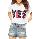 White YES Print Round Neck Short Sleeve Crop T-Shirt