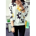 Cartoon Deer Print Long Sleeve Round Neck Sweatshirt