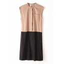 Crew Neck Single-Breasted Sleeveless Color Block Shift Dress
