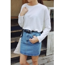Plain Zip Denim Mini A-Line Skirt