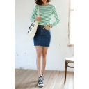 Plain Pockets Denim Mini Wrap Skirt