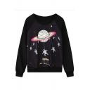 Planet Print Round Neck Long Sleeve Sweatshirt
