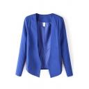 Plain V-Neck Open Front Long Sleeve Blazer