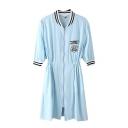 Waisted Zip Front V-Neck 3/4 Length Sleeve Tunic Coat