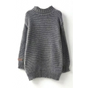 Plain High Neck Long Sleeve Tunic Knit Sweater