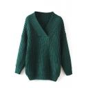 Knit Plain V-Neck Long Sleeve Sweater