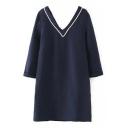 V-Neck Plain 3/4 Length Sleeve Shift Dress