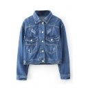 Lapel Single Breasted Double Pocket Long Sleeve Denim Jacket