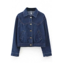 Dark Blue Lapel Single Breasted Long Sleeve Crop Denim Jacket