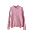 Plain Hollow Round Neck Knit Long Sleeve Sweater