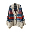 Lapel Tribal Geometric Pattern Single Breasted Long Sleeve Cardigan