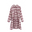 Plaid Lapel Double Pocket Tunic Single Breasted Tie Waist Shirt