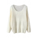 Plain Scoop Neck Long Sleeve Woolen Knit Sweater