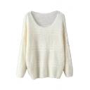 Plain Scoop Neck Long Sleeve Woolen Knit Sweater
