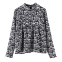Abstract Print Round Neck Zip Back Long Sleeve Shirt