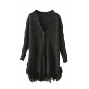Black V-Neck Single Breasted Long Sleeve Tassel Hem Cardigan