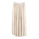 Floral Zip Back Chiffon Maxi Pleated Skirt