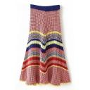 Rainbow Stripe Elastic Waist Ruffle Hem Knit Maxi Flared Skirt