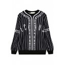 Stripe Rabbit Print Round Neck Long Sleeve Sweatshirt