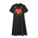 Round Neck Heart Embroidery Short Sleeve Smock Dress